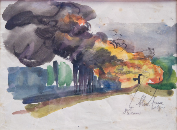 [Study for Burning oil wells at Seria III]