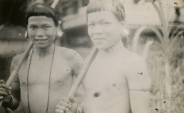 Dyak warriors, Limbang, Borneo