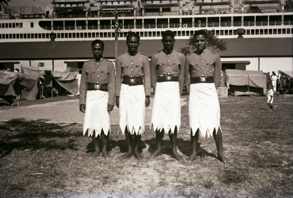 Members of the Police standing in front of the SS Monterey at Su