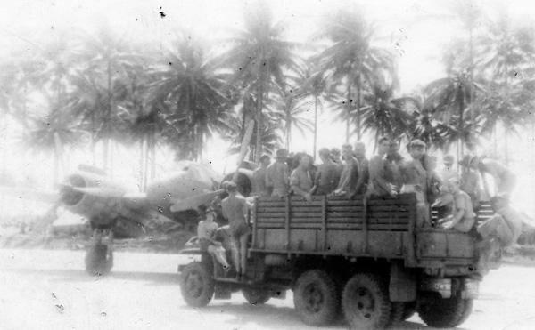 Ground staff, Morotai airfield with a Bristol Beaufighter