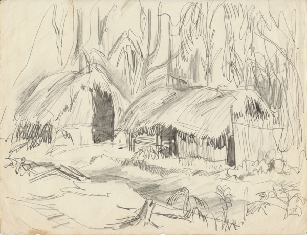 Native huts near a field hospital in the Ramu Valley, New Guinea