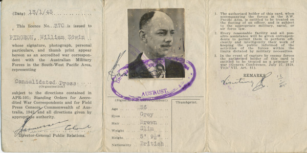 W.E. Pidgeon's (WEP) War Correspondent licence, No. 370, issued