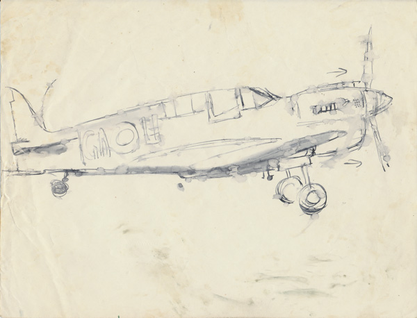 A P40 Kittyhawk of RAAF 75 Squadron, code GA-H, at Morotai airfi