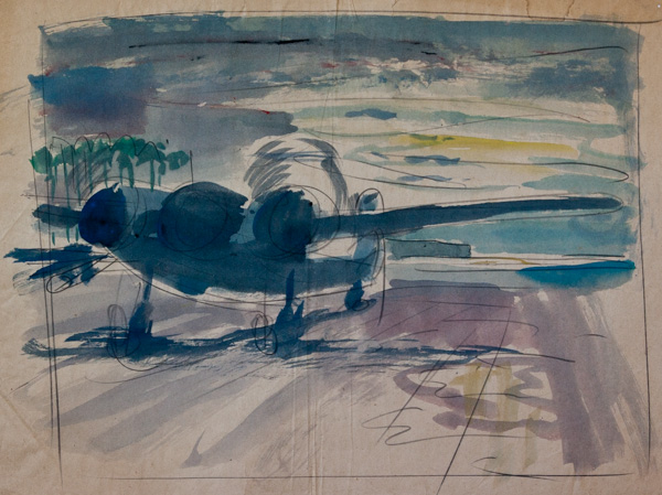 [Study of a Beaufighter lining up for takeoff at Morotai air str
