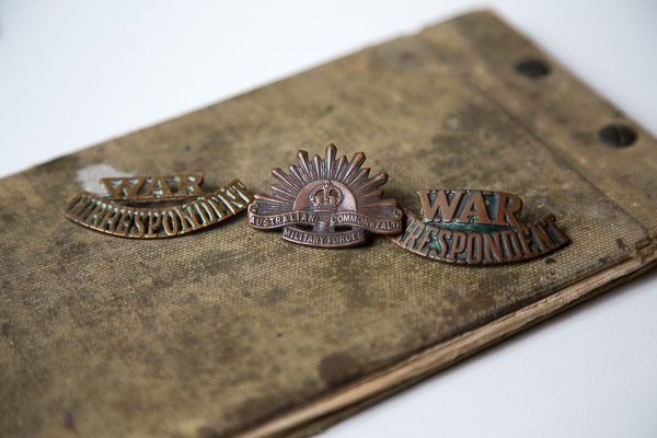 Wep's War Correspondent badges and sketch book