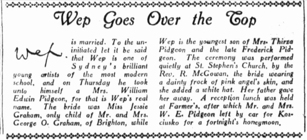 Wep Goes Over the Top - The Sun 27 Aug 1933 p28