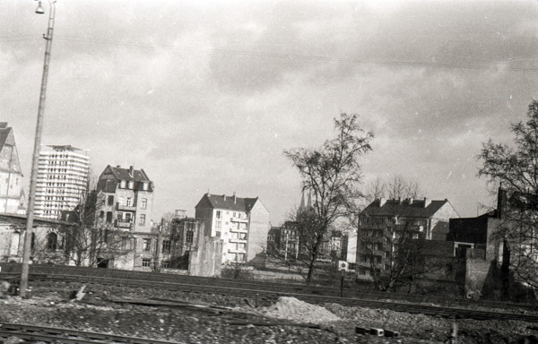 Cologne Cathedral in the distance from aboard the Lorelei Express train travelling from Holland to Zurich; 27 November 1956
