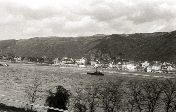 The Rhine River from aboard the Lorelei Express train travelling from Holland to Zurich; 27 November 1956